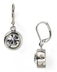 T Tahari - Metallic Circle Crystal Drop Earrings - Lyst