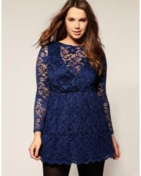 ASOS Collection - Blue Asos Curve Lace Long Sleeve Full Skirt Dress - Lyst