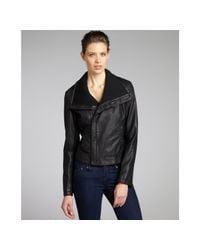 Kenneth Cole Reaction | Black Faux Leather Asymmetrical Zip Moto Jacket | Lyst