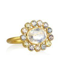 Marie-hélène De Taillac - Metallic Marguerite 22karat Gold Sapphire and Moonstone Ring - Lyst