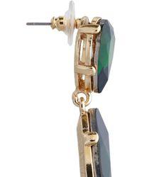 Kenneth Jay Lane - Green Goldtone Crystal Drop Earrings - Lyst