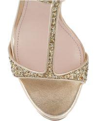 Miu Miu - Metallic Glitter-finish Leather Sandals - Lyst