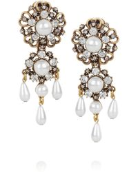 Oscar de la Renta | White 24karat Goldplated and Faux Pearl Clip Earrings | Lyst