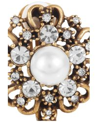 Oscar de la Renta   White 24karat Goldplated and Faux Pearl Clip Earrings   Lyst