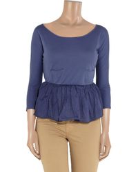Carven - Blue Cotton-jersey and Organza Peplum Top - Lyst