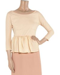 Carven - Pink Cotton-Jersey And Silk-Organza Peplum Top - Lyst