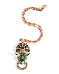Mawi - Pink Rose Goldplated Panther Head Amp Crystal Pendant - Lyst