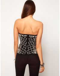 ASOS Collection - Black Asos Corset with Pearl Grid Embellishment - Lyst