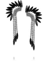 Elizabeth Cole | Metallic Hematiteplated Swarovski Crystal Mohawk Earrings | Lyst