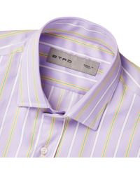 Etro | White Slim-fit Striped Cotton Shirt for Men | Lyst