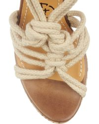 Lanvin - Multicolor Rope and Snake-print Cork Wedge Sandals - Lyst