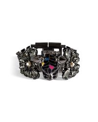 Mawi - Black Hematiteplated Panther Head Bracelet with Crystals - Lyst