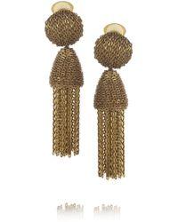 Oscar de la Renta Brown Classic Long Chain Tassel Earrings