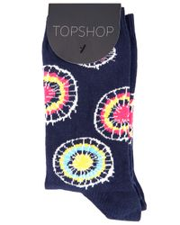 TOPSHOP - Navy Blue Tie Dye Ankle Socks - Lyst