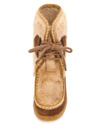 A.P.C. - Brown Veau Velours Moccasin Fur Boot in Noisette - Lyst