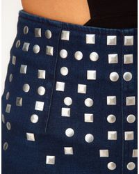ASOS Collection | Blue Asos Denim Hot Pants in Indigo with Studs | Lyst