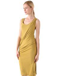 Donna Karan - Yellow Draped Foundation Dress - Lyst