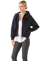 Donna Karan New York | Blue Double Zip Hooded Jacket | Lyst