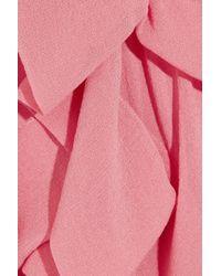Donna Karan New York | Pink Ruched Stretch Silk Chiffon Top | Lyst
