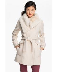 Ivanka Trump | Natural Faux Fur Trim Wrap Coat | Lyst