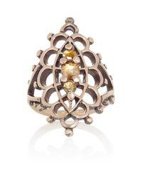 Laurent Gandini - Metallic Anello Navette 9karat Rose Gold Diamond Ring - Lyst