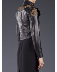 Ralph Lauren | Black Embroidered Motorcycle Jacket | Lyst