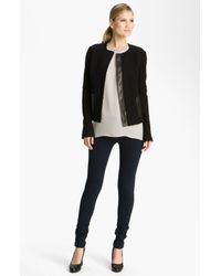 Vince | Black Wool Leather Jacket | Lyst