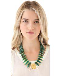 Gemma Redux - Green Geode Agate Horn Necklace - Lyst