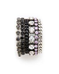 Juicy Couture - Metallic Rhinestone Multi Layer Bracelet - Lyst