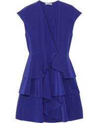 Miu Miu | Purple Tiered Silk Crepe De Chine Dress | Lyst