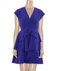 Miu Miu - Purple Tiered Silk Crepe De Chine Dress - Lyst