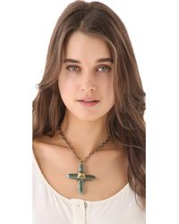 Pamela Love - Blue Crystal Cross Necklace - Lyst