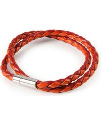 Tateossian - Red Silver Pop Scoubidou Leather Bracelet for Men - Lyst