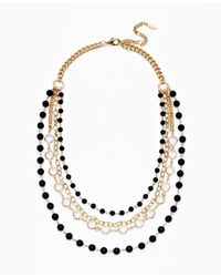 Ann Taylor - Black Crystal and Bead Multi Strand Necklace - Lyst