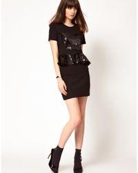 Ganni - Black Embellished Evening Dress - Lyst