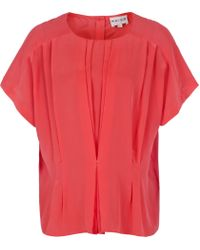 Reiss Pink Penny Tuck Front Button Back Top
