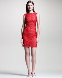 Valentino - Red Lacefront Leather Dress - Lyst