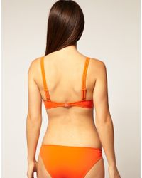 ASOS Collection - Orange Asos Hidden Underwire Embelllished Drape Bikini Top - Lyst