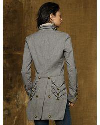 Ralph Lauren - Gray Twill Military Coat - Lyst