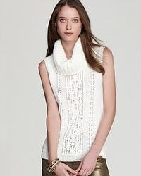 fdf25e0798e65 Lyst - Anne Klein Sleeveless Cowl Neck Cable Sweater in White