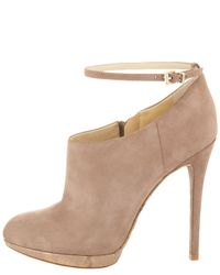 B Brian Atwood | Beige Snakesole Ankle Bootie | Lyst