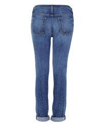 Current/Elliott - Blue The Roller Diamanté Studded Boyfriendfit Jeans - Lyst
