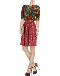 Erdem - Red Madeleine Lace and Silk Midi Skirt - Lyst