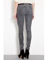 Helmut Lang | Gray Blade Grey Patina Stretch Leather Leggings | Lyst