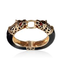 Kenneth Jay Lane | Black Goldplated and Enamel Panther Bracelet | Lyst