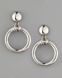 Tory Burch - Metallic Doorknocker Earrings Silvertone - Lyst