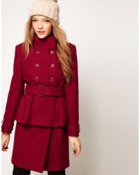 ASOS Collection | Red Asos Peplum Coat with Belt | Lyst