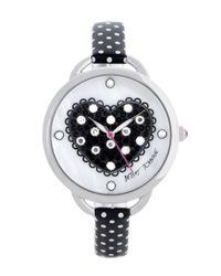 Betsey Johnson | Metallic Heart Dial Polka Dot Strap Watch | Lyst