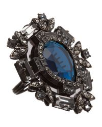 Lanvin | Metallic Oversized Swarovski Crystal Ring | Lyst