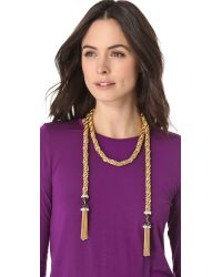 Rachel Zoe - Metallic Long Tassel Necklace - Lyst